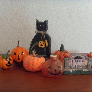 Other - Halloween Decor: Black Cat, Pumpkins, & Sign